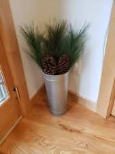 "Joanna Gains Magnolia Market Home Galvanized Metal Vase 14"" Plus 3 Pine Sprays"