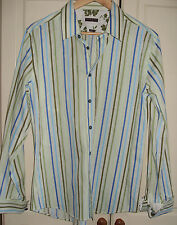 River Island, Mens green & blue stripe, long sleeve shirt. M. 21'' pit to pit.VG