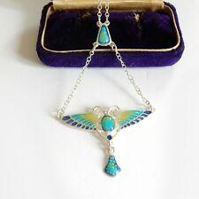 Arts & Crafts Mackintosh Enamel Butterfly Necklace Sterling Silver