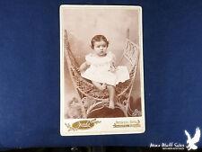 Jacobs Oelwein Iowa Cabinet Portrait Young Girl White Dress Fancy Wicker Chair