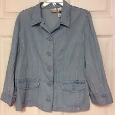 Emma James Womens Shirt Jacket Size 16 Light Blue Front Pockets 105