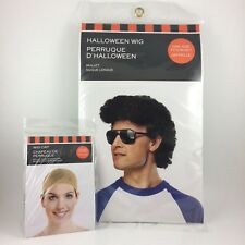 New Halloween Mullet Wig w Cap Synthetic Curly Black Hair Cosplay 1980s Costume