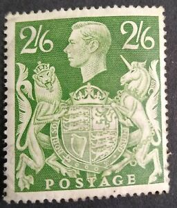 KGVI GB SG476b 2/6s Yellow/Green Very Lightly Cancelled Stamp