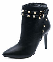 LADIES BLACK STUD ZIP-UP STILETTO ROCK-CHICK ANKLE CALF BOOTS SHOES SIZES 3-8
