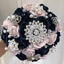 Brides Posy Bouquet  Navy Blue and Blush Pink Roses  with Brooches