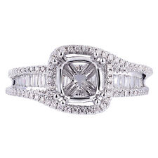 18K White Gold 0.76Ct Diamond With Dramatic Halo Ring Setting(Sizable)