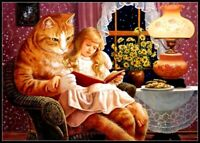 Chart Needlework DIY - Counted Cross Stitch Patterns - Girl and Cat