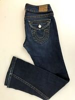 TRUE RELIGION Twisted Flare Low Rise Dark Wash Blue Denim Jeans Women's Sz 29