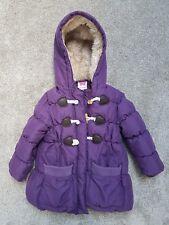 John Lewis winter coat age 3 purple toggle duffle fur hood