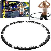 Black Hula Hoop Pro Massager Abs Weighted Magnetic Fitness Exercise Workout