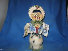 2001 Blue Sky Clayworks Heather Goldminc Christmas Caroler Angel Tealight Holder