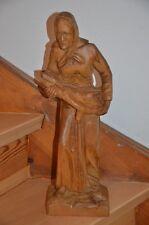 Holzfigur, Frau, handgeschnitzt, riesige 48cm hoch, sehr dekorativ, 1981, U.T.