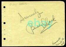 BUDDY CLARK Autographed Album Page 1938 Legendary Singer d. 1949 Plane Crash