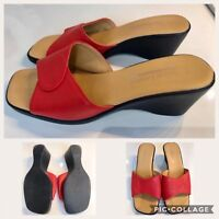 Women's Red Leather Wedges Non Slip On Italian Shoes Comfy Summer UK5 EU38