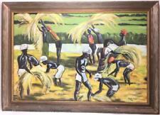 Vintage Paulette Aikan Field Workers Oil On Board Framed Painting Art
