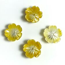 2 PC Natural Yellow Shell Flower Carved 07, 10mm - NEW DIY Bead Design Wholesale