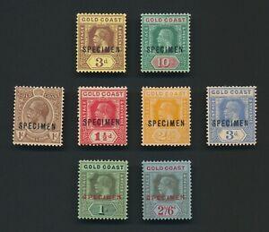 GOLD COAST STAMPS 1913-1924 KGV SELECTION OF SPECIMEN O/Ps TO 10/- MINT OG VF