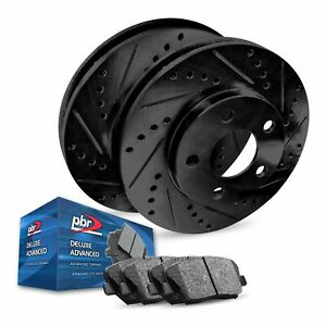 For 2013-2016 Lincoln MKT Rear PBR AXXIS Drill/Slot Brake Rotors+Ceramic Pads