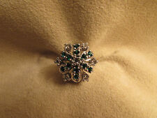 N.O.S. Vintage Large Lady's Sterling Silver Cluster Clear & Green Cubic Zirconia
