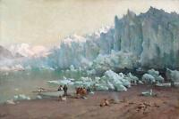 Excellent Oil painting Muir Glacier, Alaska winter landscape with fishermen art