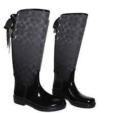 WOMEN'S BLACK COACH SIGNATURE TRISTEE RAIN BOOTS SIZE US.5B