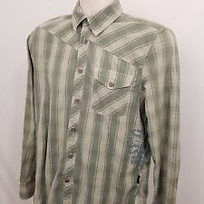 VOLCOM Button Down Shirt Men's Size Small S Green Plaid Long Sleeve