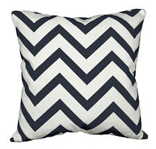 le06a Dark Blue on Beige Zig Zag Cotton Canvas Cushion Cover/Pillow Case Custom