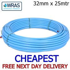 32mm Blue MDPE Water Mains Poly Plastic Alkathene Pipe 25 metre 25m roll ground