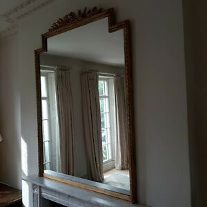 Gold painted gilt antique overmantel mirror