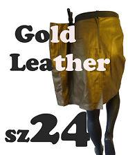 """GOLD LEATHER pencil skirt 24 44"""" NEW dress steampunk matte metallic flat brass"""