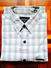 ♥ #R093 - Auth Nautica Blue Checkers Short Sleeves Shirt M 15-15.5