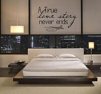 TRUE LOVE STORY BEDROOM WALL VINYL WORDS DECAL HOME DECOR WALL ART STICKER