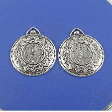 8pcs Tibetan silver clock design charm pendant h0718