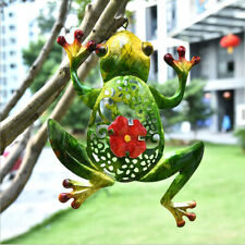 Cut-Out Metal Frog Wall With Hook Art Sculpture Hanging Ornaments For Garden