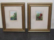 2 Original Miniature Watercolour Paintings Summer Field Brian Currie Flowers