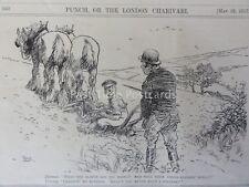 WW1 1917 può 23A SOLDATO CON ARATRO & CAVALLI-Pulizia pulsanti PUNCH CARTOON