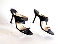 Women's Shoes Sandals Heels Designer Jimmy Choo Black Leather Sandals  8.5 M