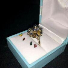 1940's 14K Yellow Gold Sapphire & Precious Gemstone Cocktail Thai Princess Ring