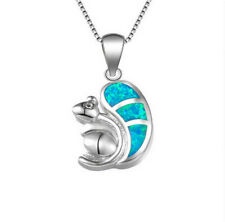 Women'S Lady Silver Squirrel Blue simulated Opal Pendant Necklace Jewelry Gift