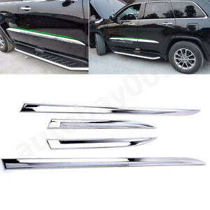 Chrome Side Door Body Molding Trim Cover Protector For JEEP Grand Cherokee 14-16