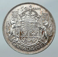 1940 CANADA UK King GEORGE VI Lions Crown Large Old SILVER 50 Cents Coin i85602