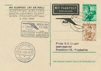"""ÖSTERREICH 1958 AUA Erstflug """"WIEN – FRANKFURT"""" Zudruck-Postkarte (Auflage 800)"""