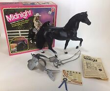 Midnight Barbie Doll Horse No. 5337 Black Saddle Stirrups Reins Mattel IOP 1981