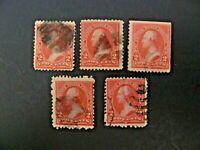 USA 1894 Lot of 5 1st Bureau $.02 Washington #248 Used Type I - See Description