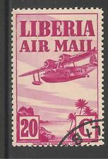 Liberia #C10 (AP5) VF USED  - 1938 20c Sikorsky Amphibian Plane (Magenta)