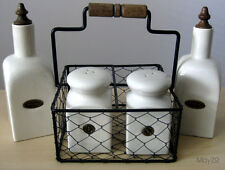 Beige Oil Vinegar Salt Pepper Ceramic Pottery Set Vintage Wire Basket Condiment