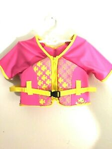 Aqua Leisure jacket floating swim school size M/L 33-55 lbs pink yellow belt New