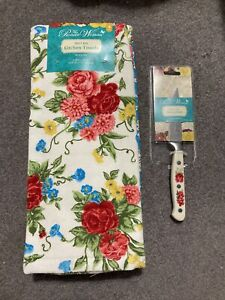 """Pioneer Woman Sweet Rose Cotton Kitchen Towels Country 16""""x28"""" and Paring Knife"""
