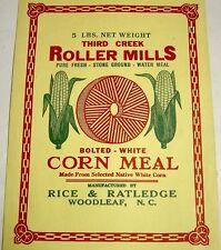 5lb Corn Meal Paper Bag/Sack-Third Creek-Rice & Ratledge-Woodleaf North Carolina