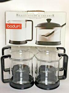 8 pc Set Black BODUM Coffee cappuccino GLASS Cups 4 MUGS Sugar, Spoon & Creamer